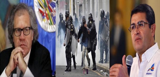 Mientras el presidente Juan Orlando Hernández habla de paz y diálogo inclusivo, el rechazo a la presencia de un delegado de la OEA para verificar la situación de derechos humanos por las represiones a manifestantes contra el fraude electoral, le deja muy mal parado.