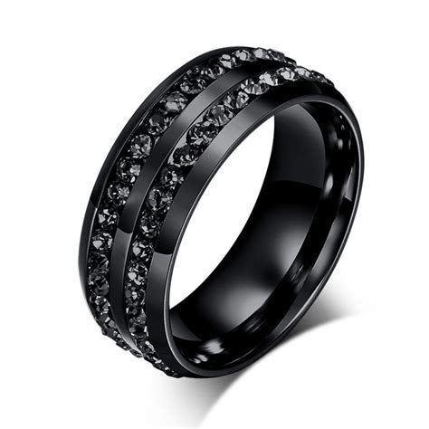 Cool Round Black CZ Stainless Steel Rings Titanium Wedding