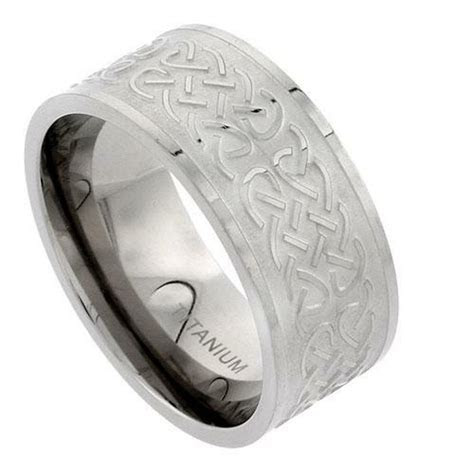 10mm Titanium Celtic Knot Wedding Band Ring, Flat Comfort