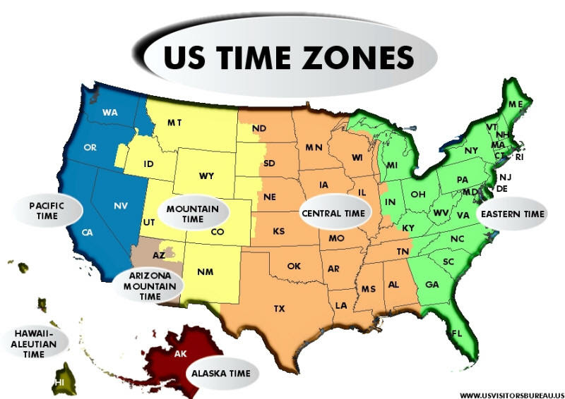 Show Me A Map Of The Different Time Zones In