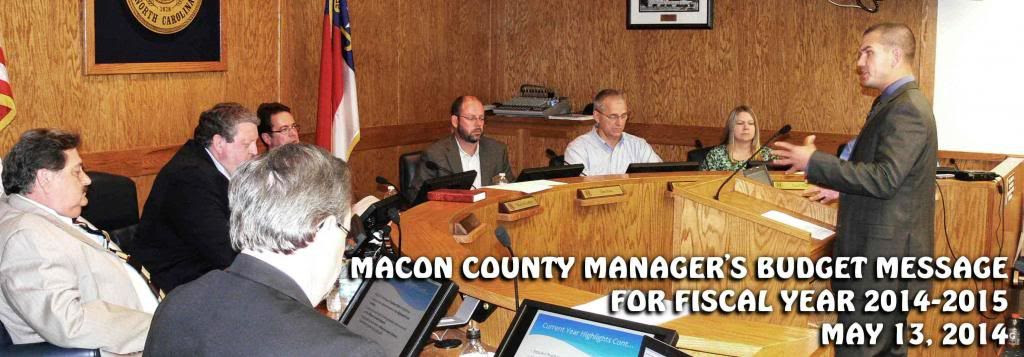 Macon County Manager Derek Roland delivers the FY 2015 Budget Message