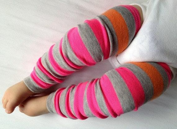 Pink Gray With Orange Stripe Baby Legs / Girl Leg Warmers