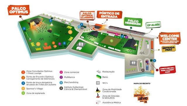 Optimus Alive 2013 maps program festiwal
