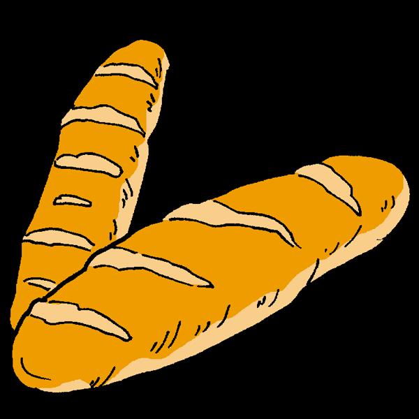 フランスパンのイラスト かわいいフリー素材が無料のイラストレイン