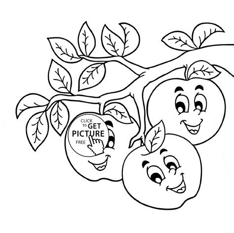 apple printable coloring pages apple fruit coloring