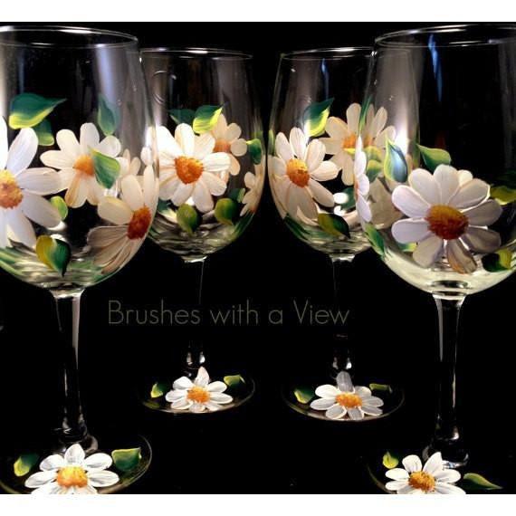 Hand Painted White Daisy Flower Wine Glasses Set Of 4