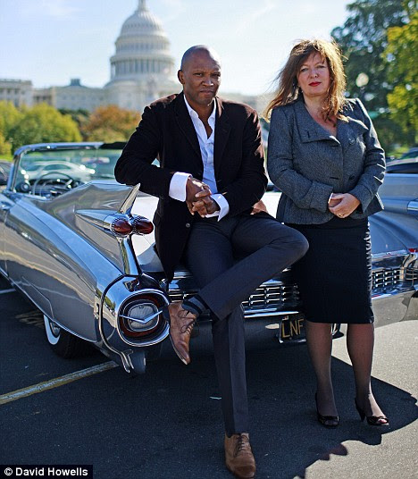 Mail on Sunday writers David Matthews and Suzanne Moore. Photographed infront of the Capitol