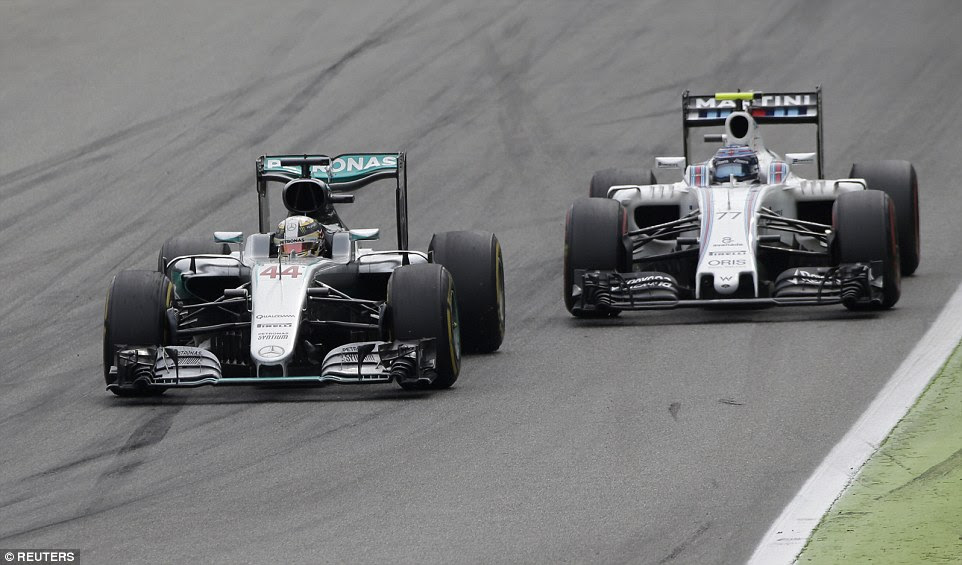 Hamilton, who held a nine-point lead over Rosberg in the title race prior to the Italian Grand Prix, overtakes Williams' Bottas