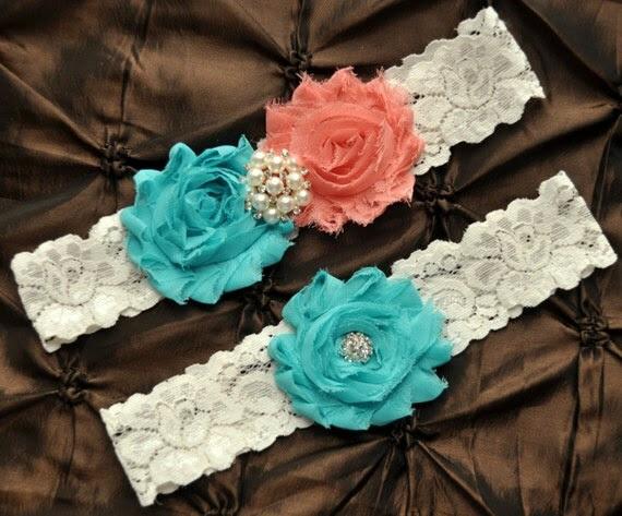 Wedding Garter Set, Bridal Garter Set - Ivory Lace Garter, Keepsake Garter, Toss Garter, Shabby Chiffon Rosette Coral Aqua Wedding Garter