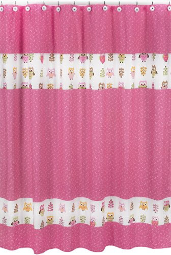 Buy Shower Curtain Sets On Sale: Pink Happy Owl Kids Bathroom ...