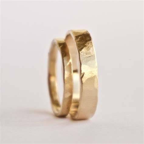 Wedding Ring Set   Two Flat Hammered Gold Rings   Rustic