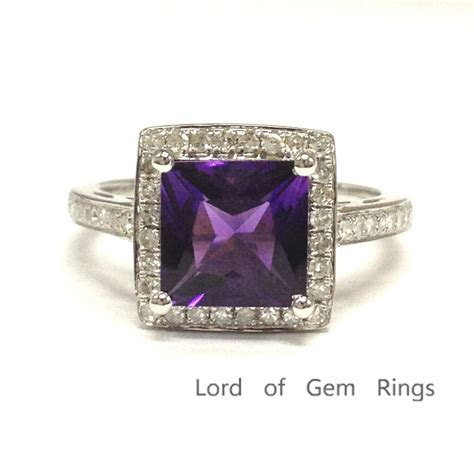 7mm Princess Cut Amethyst Engagement Wedding Diamonds Ring