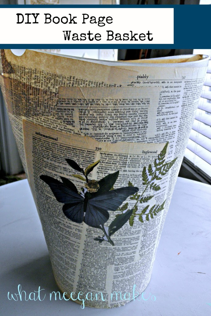 Diy Book Page Waste Basket