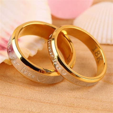 USA 2Pcs 18K Rose Gold Forever Love Couple Engagement