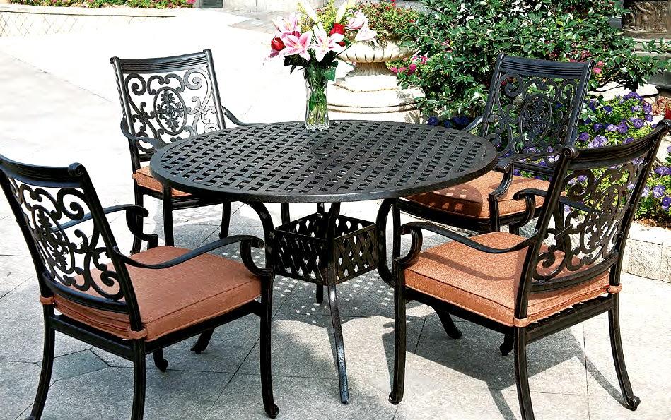 """Patio Furniture Dining Set Cast Aluminum 48"""" Round Table ..."""
