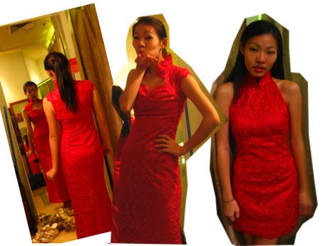 mazzario cheongsam singapore red lace cheongsams