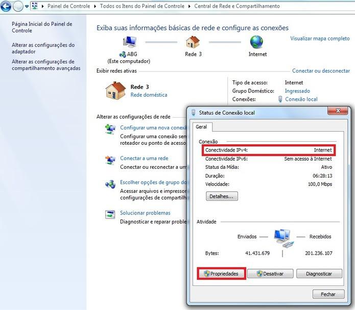 Status de conexão local no Windows (Foto: Reprodução/Marcela Vaz) (Foto: Status de conexão local no Windows (Foto: Reprodução/Marcela Vaz))