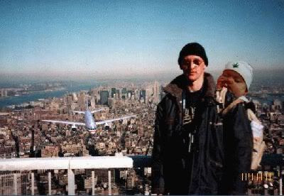 Back in the day... The infamous 9/11 hoax pic.  Overlooking the fact the lighting on the plane doesn't mix with the actual lighting in the photo, notice how well it was cut and paste into this picture.  Don't know 'bout the Pot Baby, though.  Whoever added that is a disgrace to Photoshop pranksters everywhere.  Haha.