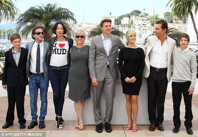 The gang: Witherspoon and McConaughey with (L-R) co-star Jacob Lofland, producers Aaron Ryder, Lisa Marie Falcone and Sarah Green, director Jeff Nichols and co-star Tye Sheridan