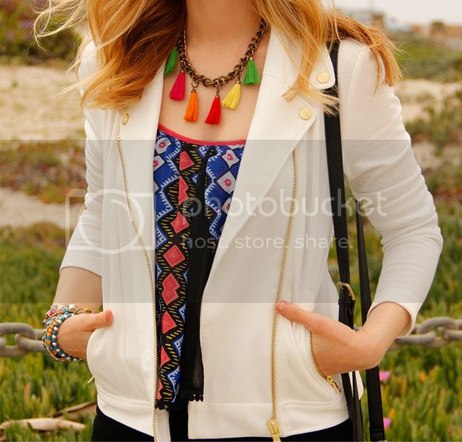 LA fashion blogger The Key To Chic wears a Peter Som for Kohl's moto jacket, Xhilaration tribal top, and J Brand Jeans