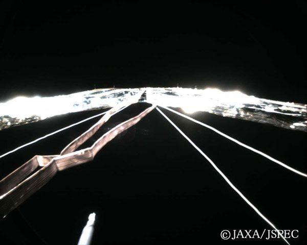 IKAROS' solar sail as seen from monitoring camera #4.