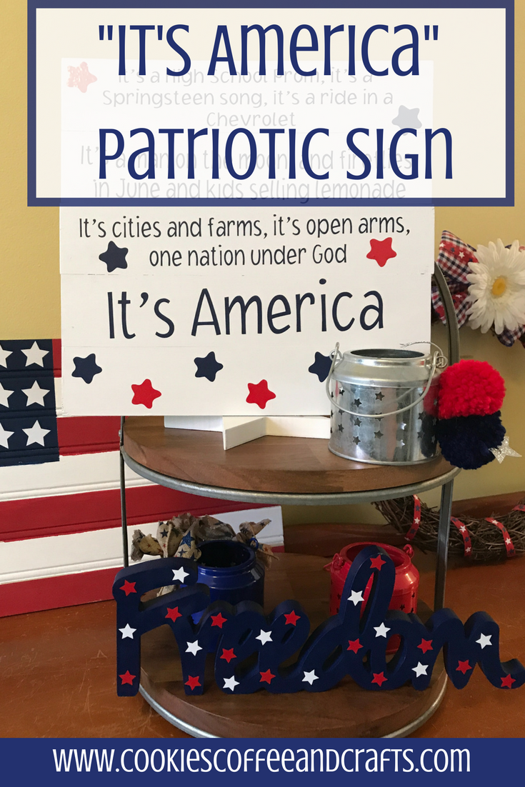 Have fun creating a sign using the chorus from your favorite song. I'm creating an It's America Patriotic Sign for the 4th of July using my Cricut Maker and Cricut Design Space
