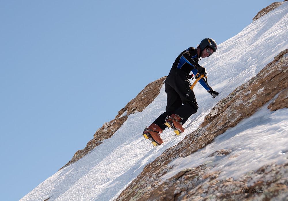 últimos pasos a cima, ahora sin skis