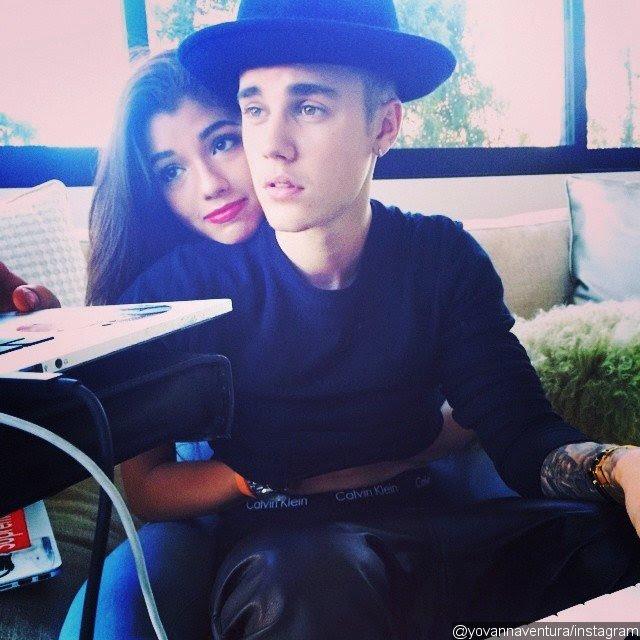 Justin Bieber Receives Back Hug From Yovanna Ventura