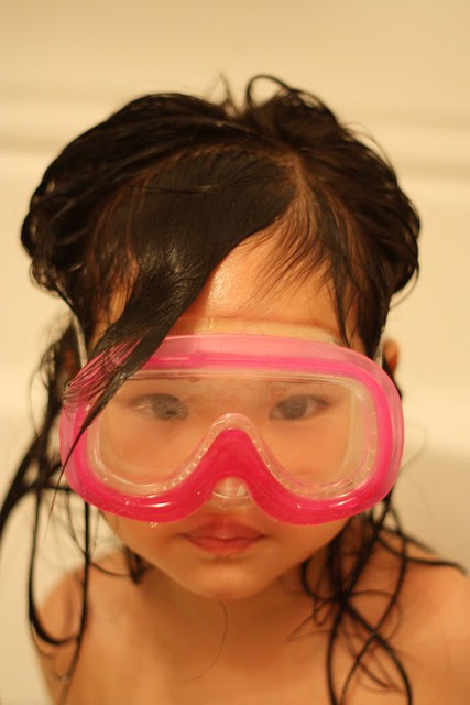 snorkeling in the bath!