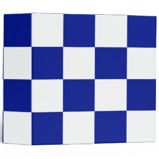 Royal Blue and White Checkered Pattern Binder