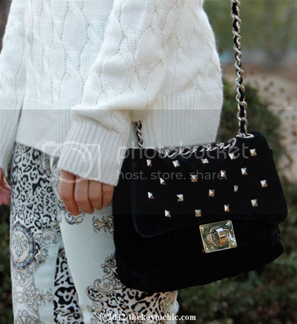 Forever 21 cable knit sweater, Bakers studded handbag, Hot Kiss Baroque scarf print jeans, L.A. fashion blog