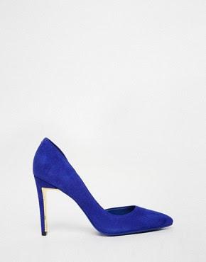 Zapatos de salón de ante azul con tacón Meshi Dorsay de Ted Baker