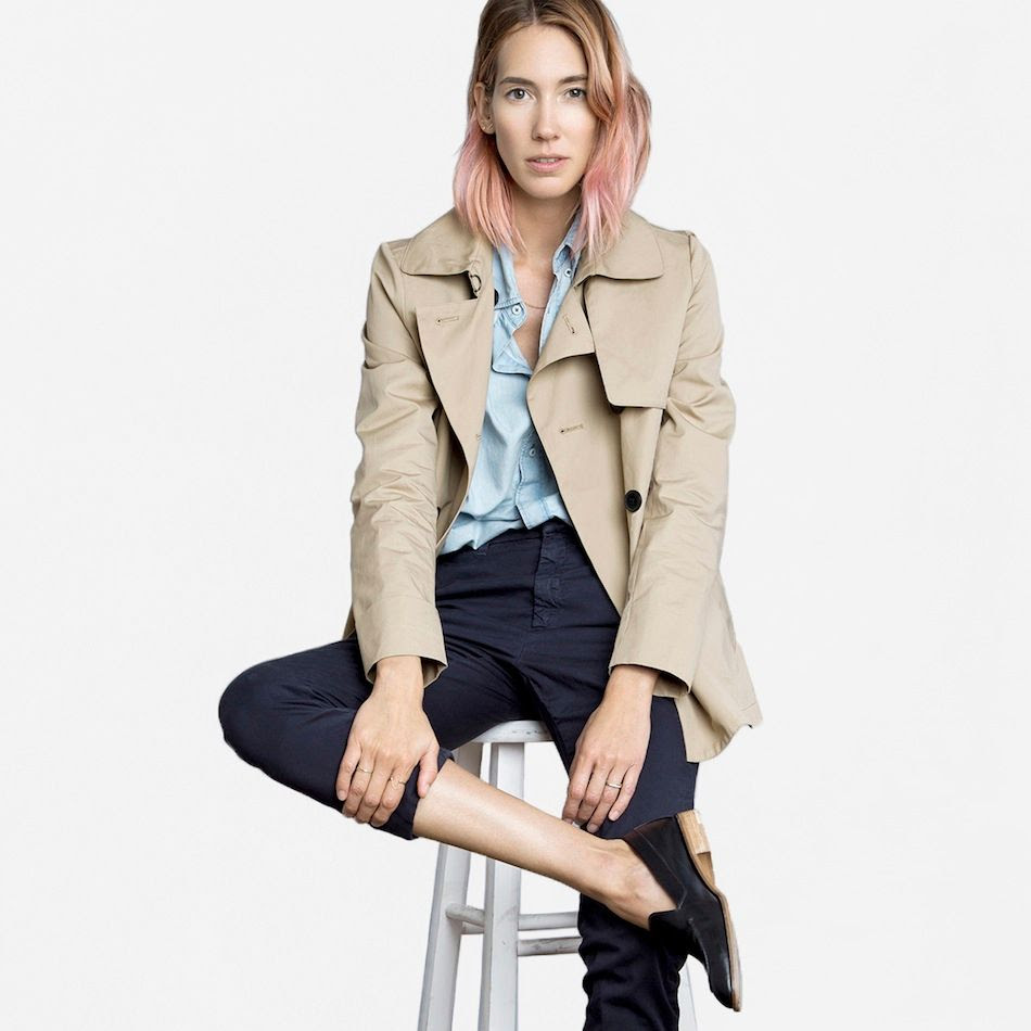 Le Fashion Blog Everlane The Swing Trench Tan Wavy Ombre Pink Hair Caroline Ventura Denim Shirt Navy Trousers Black Loafers photo Le-Fashion-Blog-Everlane-The-Swing-Trench-Tan-Wavy-Ombre-Pink-Hair-Caroline-Ventura-Denim-Shirt-Navy-Trousers-Black-Loafers.jpg