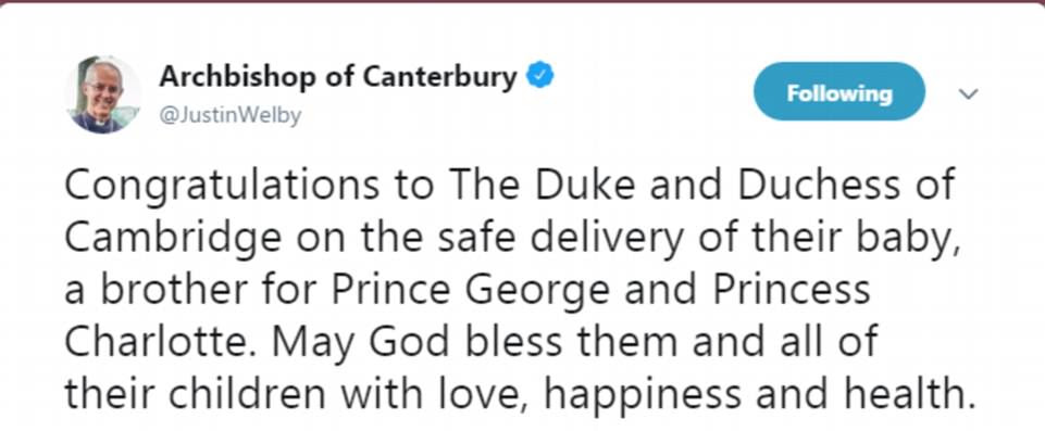 El arzobispo de Canterbury y líder de los Demócratas Liberales ha felicitado a la familia real en las redes sociales
