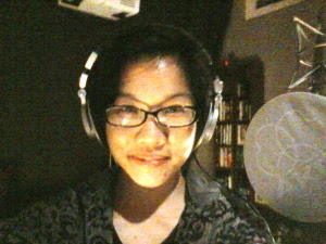 Jane in the recording booth