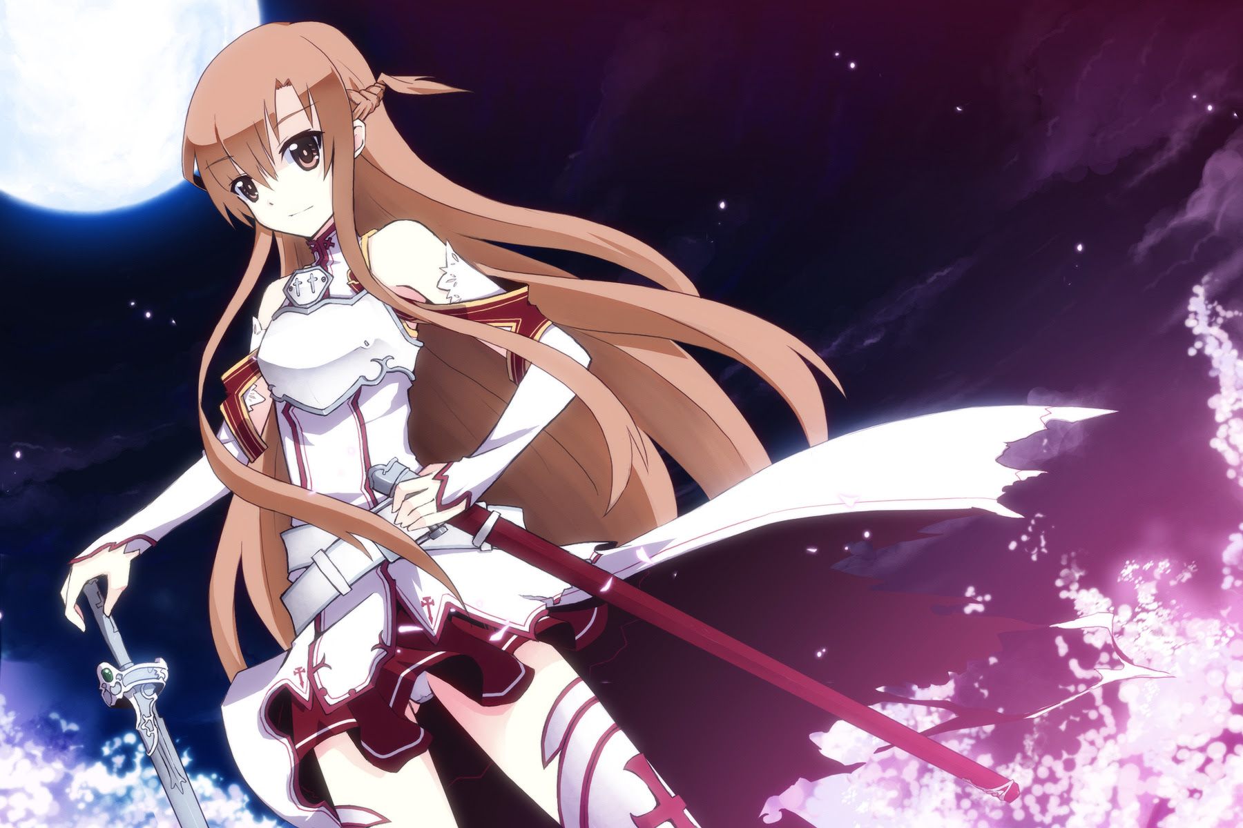 konachan 142775 brown_eyes brown_hair long_hair sword sword_art_online uiu weapon yuuki_asuna.jpg