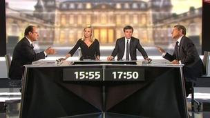 An image grab taken from French TV France 2 shows the candidates for the 2012 French presidential election, 2 May 2012
