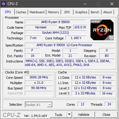 AMD Ryzen 9 5900X: especificaciones mostradas por CPU-Z