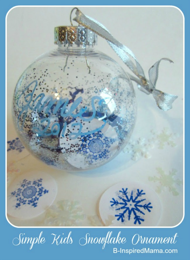 Kids Simple Snowflake Ornament Craft from B-InspiredMama.com at Naptime Creations