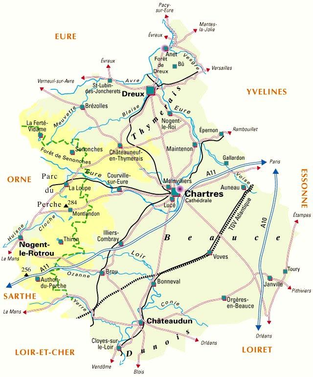 Carte Plan Du Departement Eure Et Loir 28
