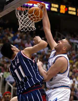 Ostertag dunks on Yao