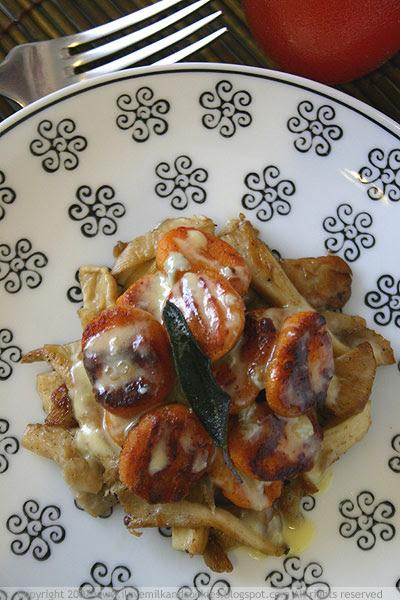 Pan Fried Potato Gnocchi With Mushrooms and Gorgonzola Sauce