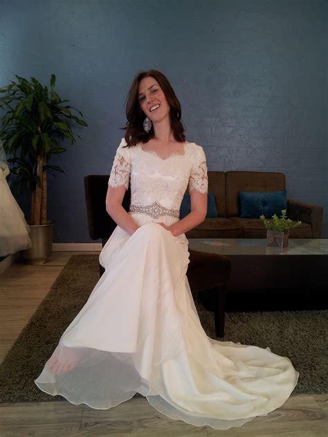 Chiffon & Lace modest wedding dress