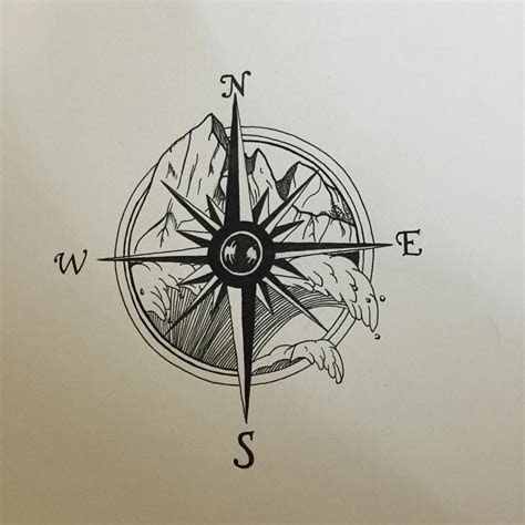 tattoo compass  mountains  ocean compass tattoo