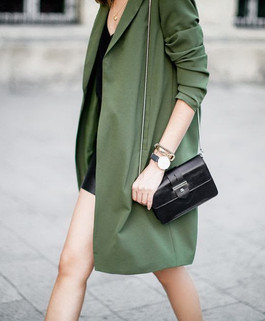 Le Fashion Blog Ways To Wear Green Jacket Fall Winter Style Duster Coat Leather Skirt Shoulder Flap Bag Via Fashion Agony