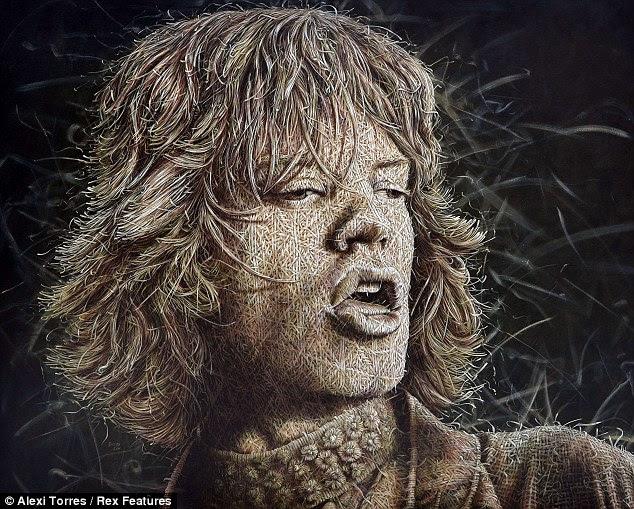 Dedos Stitchy: Mick Jagger é pintado como se ele tivesse sido tecidas