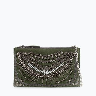 Zara Leather Clutch with Jewels