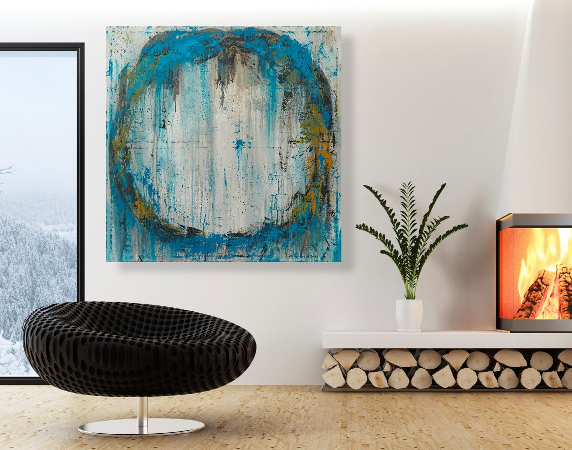Abstract Painting - Large Original Circle Wall Art - 32x32 Modern Teal and Orange Urban Art - CMFA