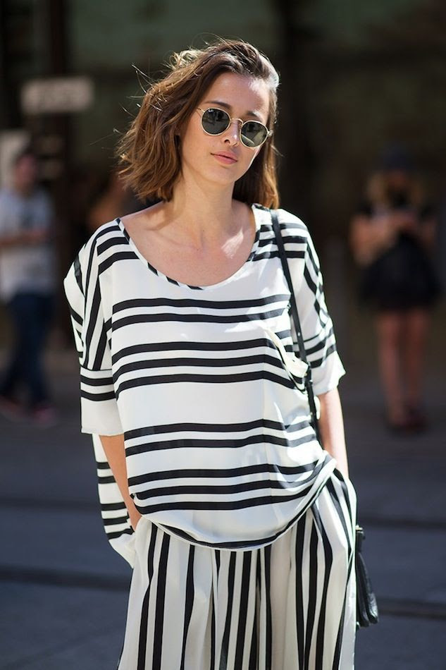 Le Fashion Blog Eleanor Pendleton Street Style Wavy Bob Round Sunglasses Striped Top Matching Pants Separates Under 100 Via Harpers Bazaar