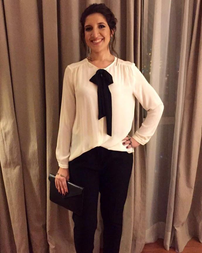 Renata Augusto aposta em um look 'black and white' clássico (Foto: Arquivo Pessoal)